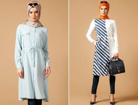 Armine Mavi-Beyaz Tunik Modelleri