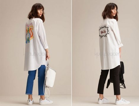 Kuaybe Gider Yazı Baskılı Giy-Çık Tunik Modelleri