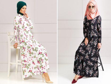 Refka Çiçek Desenli Elbise Modelleri