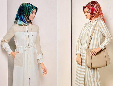 Armine Bej-Beyaz Çizgili Giyim Modelleri