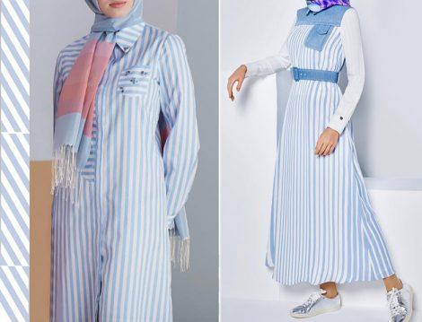 Armine Mavi-Beyaz Çizgili Giyim Modelleri