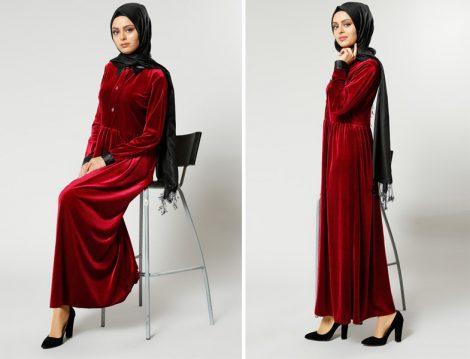 Kadife Tesettür Giyim Modelleri 2017