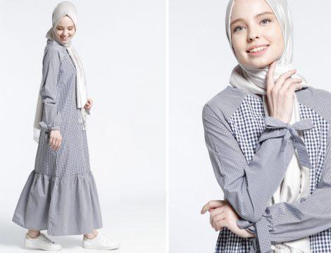 Ekoseli Tesettür Elbise Modelleri