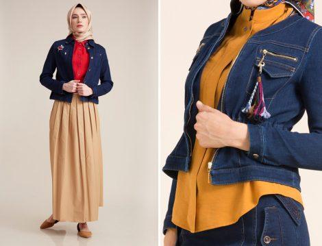 Kot Tesettür Elbise ve Ceket Modelleri 2017