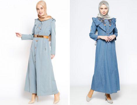 Tesettür Kot Elbise Modelleri 2017