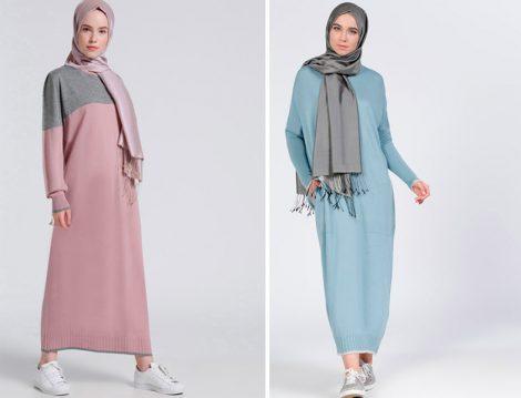 En Güzel Tesettür 2017 Triko Elbise Modelleri
