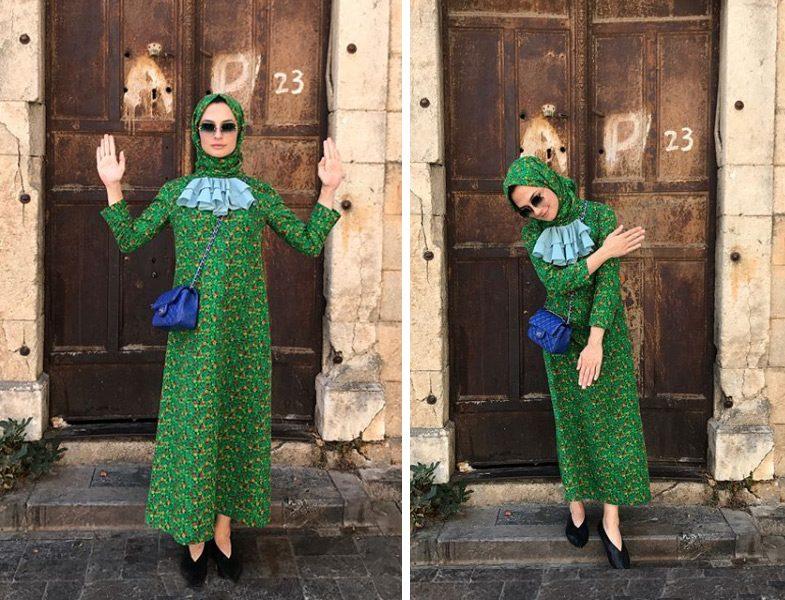 Takım Dayanışması Desenli Elbise Ve Şal