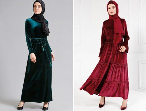 Kadife Tesettür Giyim Modelleri 2018
