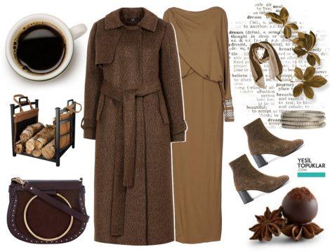Kahverengi Tesettür Giyim Kombileri 2018