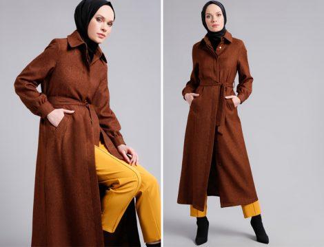 Kahverengi Tesettür Palto Modeli