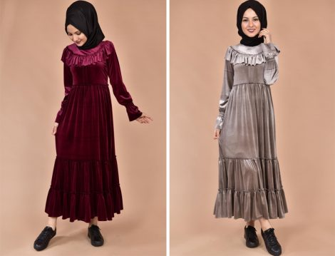 Tesettür Kadife Elbise Modelleri 2018