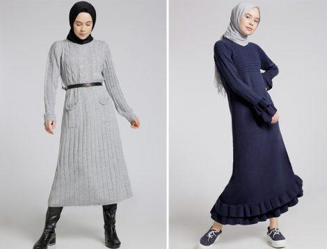 Aralık Ayının En Yeni Tesettür Elbise Modelleri