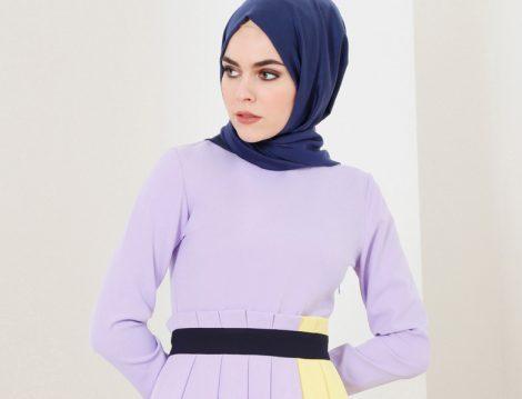 Mor Tesettür Giyim Modelleri ve Kombinleri 2018