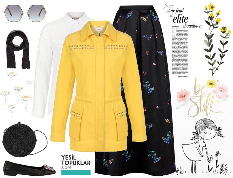 Sarı Tesettür Giyim Kombinleri - 2018 Trend Renkleri