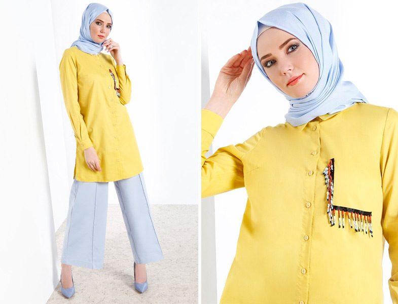 Sarı Tesettür Tunik Modelleri