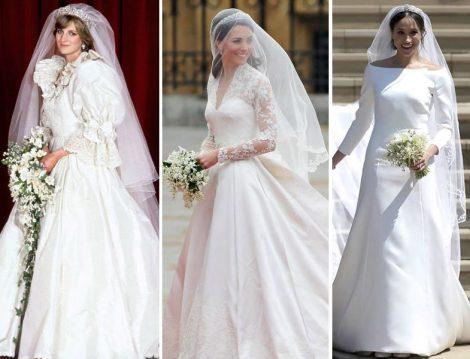 Prenses Diana,Düşes Kate ve Düşes Megan'ın Gelinlik Seçimleri
