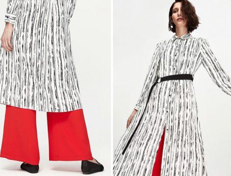 Siyah Beyaz Yazlık Tesettür Tunik Modeli
