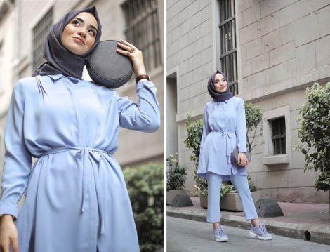 Mavi Tesettür Giyim Modelleri 2018