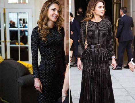 Ürdün Kraliçesi Rania el Abdullah Siyah Işıltılı Abiye Elbiseleri