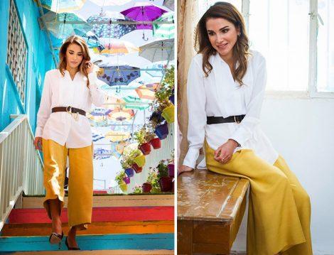 Ürdün Kraliçesi Rania el Abdullah'ın Sarı Pantolon Kombini