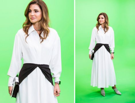 Ürdün Kraliçesi Rania el Abdullah Beyaz Gömlek Elbiseleri