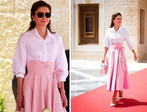 Ürdün Kraliçesi Rania el Abdullah Beyaz Gömlek Pembe Etek Kombinleri