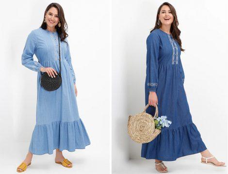 Alia Büyük Beden Denim Elbise Modelleri