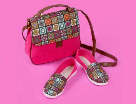 Geometrik Kare Desenli Kırmızı Çapraz Çanta ve Ayakkabı Set