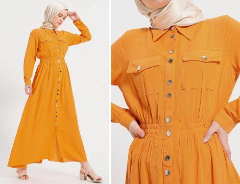 Benin Boydan Çıtçıtlı Elbise Modelleri
