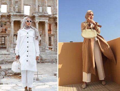 Bleumer'den Beyaz ve Toprak Renkleriyle Yaz Tesettür Kombinler
