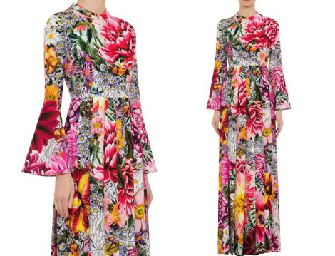 Çiçek Desenli Uzun Tesettür Elbise