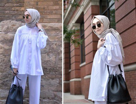 Elif Doğan Beyaz Gömlek İle Yaz Tesettür Kombini