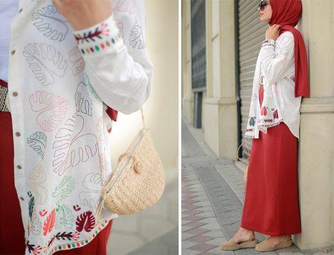 Esra Keküllüoğlu Nakış Detaylı Beyaz Gömlek Modeli