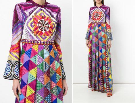 Etnik Desenli Uzun Tesettür Elbiseler