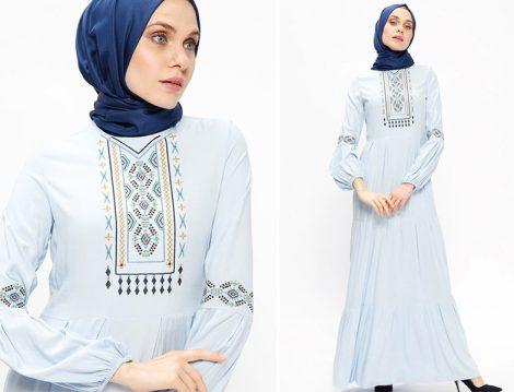 Ginezza Mavi Nakışlı Elbise Modelleri