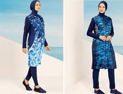 Haşema Lacivert Mavi Marin Desen Tesettür Mayo Modelleri