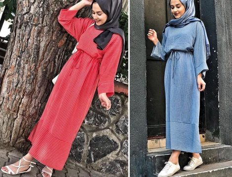 Kübra Kurucan Çizgi Desen Elbise Modelleri