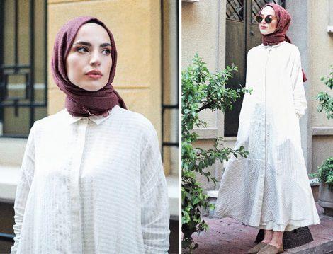 Kevser Sarıoğlu Beyaz Tesettür Elbise Modelleri