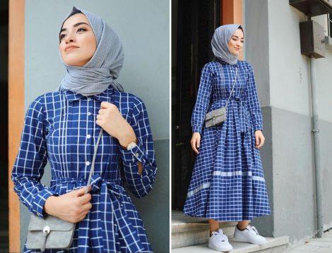 Mavi Ekoseli Tesettür Elbise Modeli