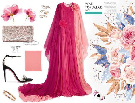 Pembe Şifon Yazlık Tesettür Abiye Elbise Modeli