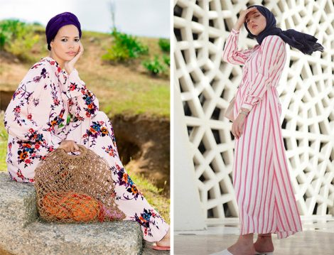 Refka Çizgi ve Çiçek Desen Tesettür Elbise Modelleri