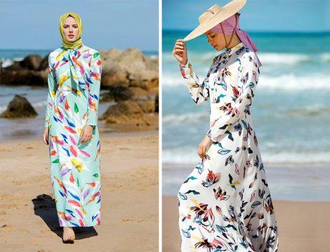 Refka Desenli Yazlık Tesettür Elbise Modelleri