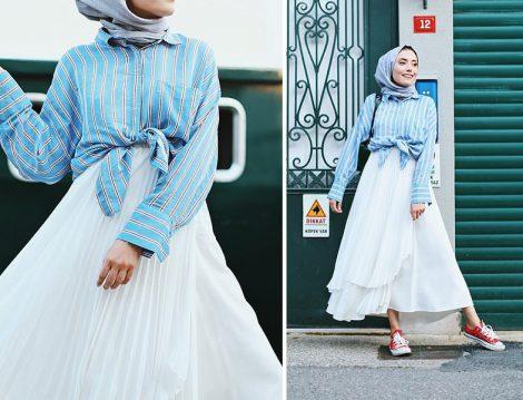 Rimel Akına Beyaz Kloş Etek ve Mavi Çizgili Gömlek Kombini