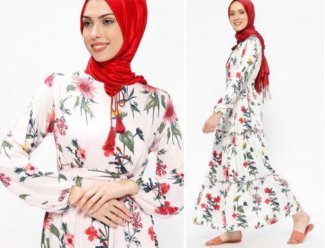 SUEM Beyaz Çiçek Desenli Elbise Modelleri