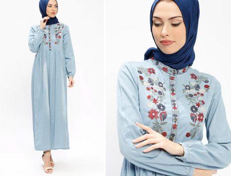 SUEM Mavi Pamuklu Kot Elbise Modelleri