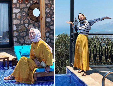 Sena Sever Sarı Elbise ve Etek Kombinleri