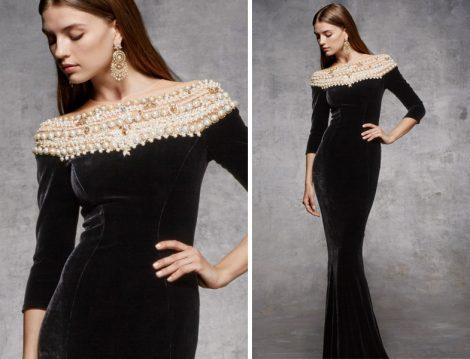 Siyah Tesettür Abiye Elbise Modelleri 2018