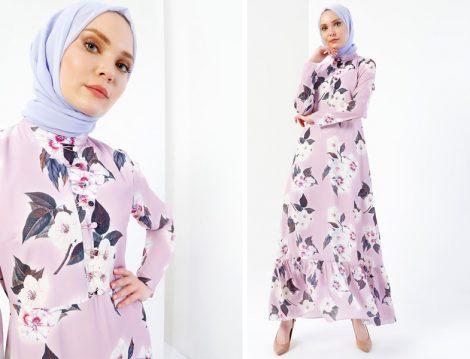 Tesettür Çiçek Desenli Uzun Elbise