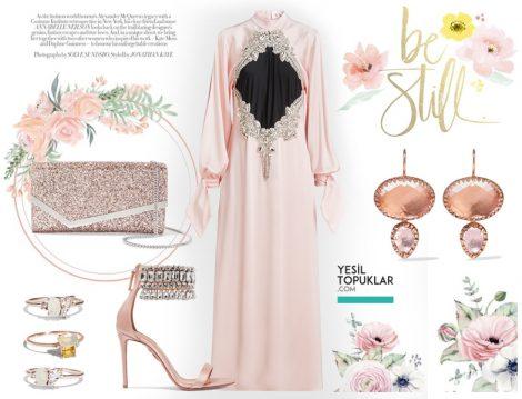 Vintage Tesettür Abiye Elbise Modeli