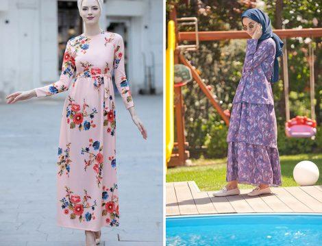 Yaz Tatil İçin Floral Desenli Tesettür Elbise Modelleri